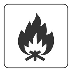 Fire campfire icon. Hot bonfire sign. Black firewood and flame silhouette, isolated on white background. Drawing graphic element. Symbol of camp, heat, energy. Flat design concept. Vector illustration