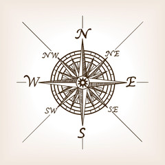 Compass rose sketch style vector illustration