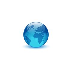 Realistic glass globe logo, creative idea eco symbol planet Earth, environment world icon