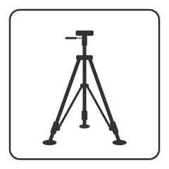 Tripod icon. Sign modern equipment for photography, camera. Black silhouette, isolated on white background. Symbol of photo technology, media industry. Simple flat design concept. Vector illustration.