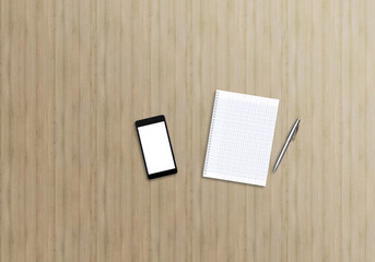 Office desk top view mock up image with smartphone, notebook and pen. Wooden background