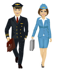 Handsome man wearing airline pilot uniform and air hostess walking with flight cases