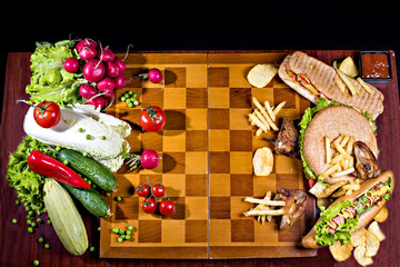 The war against healthy eating street food on the chessboard.
