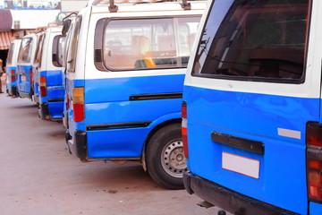 Blue and white rickshaw taxis. Mekelle-Ethjopia. 0490
