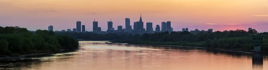 Panorama of the Warsaw city center
