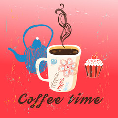 Graphic time coffee and cake