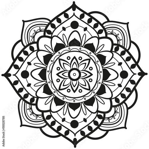 Vector: Black and white mandala vector for coloring, mandala bianco e ...