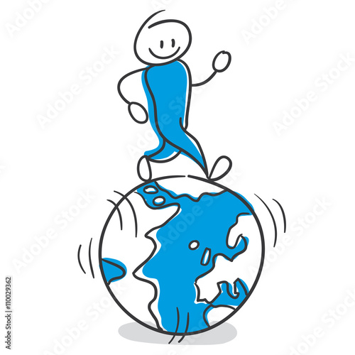 stick figure series blue run the world global player stockfotos und lizenzfreie vektoren. Black Bedroom Furniture Sets. Home Design Ideas