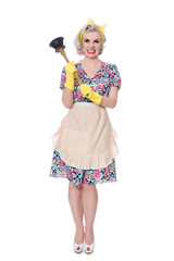 Fifties housewife with sink plunger, humorous concept, isolated