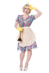 Tired fifties housewife with sink plunger, humorous concept, iso