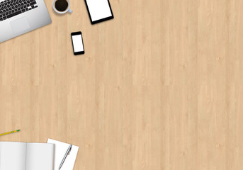 Office table mock up image with smart devices. View from above on wooden background