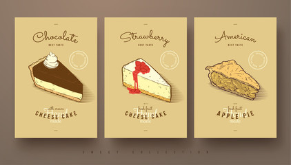 sweet collection of cheese cakes and apple pie