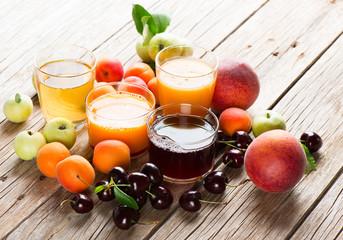 Assortment of fresh juices.