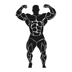 bodybuilder, double biceps, athlete, icon, vector illustration