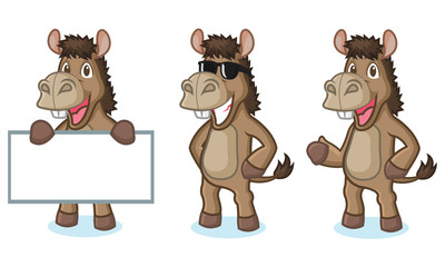 Brown Donkey Mascot happy