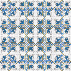 Old ceramic tiles patterns handicraft from thailand In the park