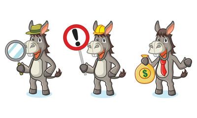 Gray Donkey Mascot with money