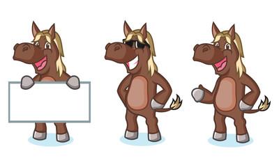Dark Brown Horse Mascot happy
