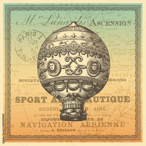 Travel themed cardbackground with vintage hot air balloon antique travel themed cardbackground with vintage hot air balloon antique world map and french gumiabroncs Gallery