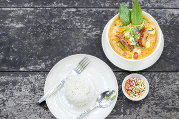 Red curry with roast duck  or Thai call Kaeng Pled Ped Yang the popular delicious Thai food.