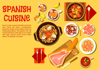 Spanish seafood and meat dishes flat icon