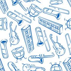 Jazz musical instruments seamless pattern