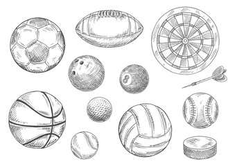 Sporting items sketches for sport game design
