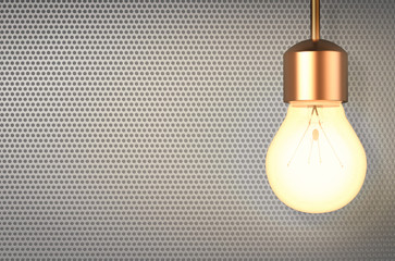 lightbulb with blank space on grey background
