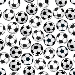 Football game seamless pattern with soccer balls