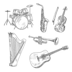 Musical instruments sketches for arts design