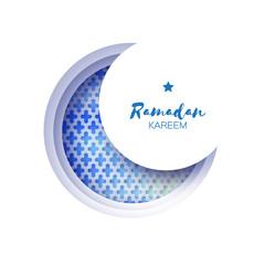 Blue Origami Crescent Moon Mosque Window Ramadan Kareem Greeting card with arabic arabesque pattern. Holy month of muslim. Symbol of Islam. Applique Vector illustration