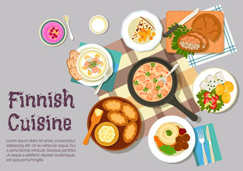Sunday breakfast dishes of finnish cuisine icon