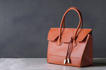 women leather handbag on gray background