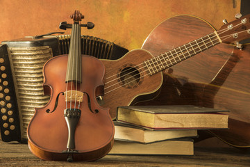 StillLife photo of Violin, Guitar, and Accordion