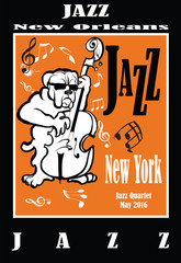 Wall Mural - Jazz poster with double bass