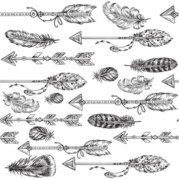 arrows and feathers seamless pattern
