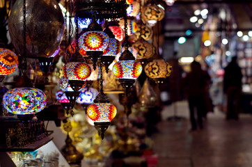 Traditional lamps at  the Grand Bazaar in Istanbul