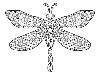 Dragonfly coloring vector for adults