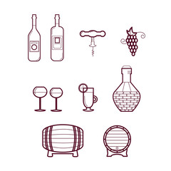 Vector Wine Icons/ Set of Icons Related to Wine