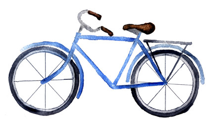 watercolor sketch: a bicycle on a white background