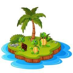 Tropical island with turtle