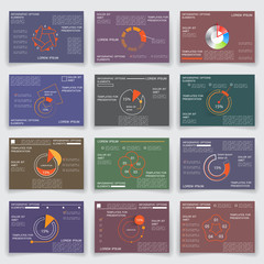 Set of business reports, Brochures, pages, charts and graphs