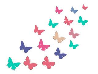 Set of butterflies. Paper butterflies with shadow. Vector illustration.
