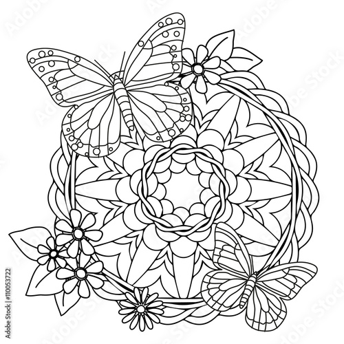 spring mandala butterflies stock image and royalty free vector files on pic. Black Bedroom Furniture Sets. Home Design Ideas