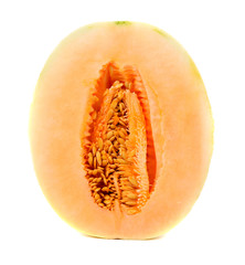 cantaloupe malons slices on white background