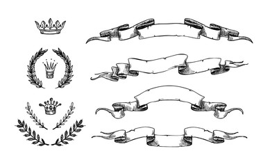 Hand drawn vector illustration - set of  ribbons and other eleme