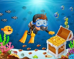 Illustration of diver under the sea