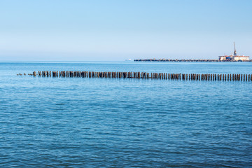Landscape of sea with Breakwater. black sea.