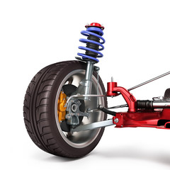 car suspension separately from the car isolated on white 3d illu