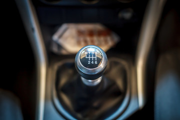 Six speed gear shift in car . Gear transmission.
